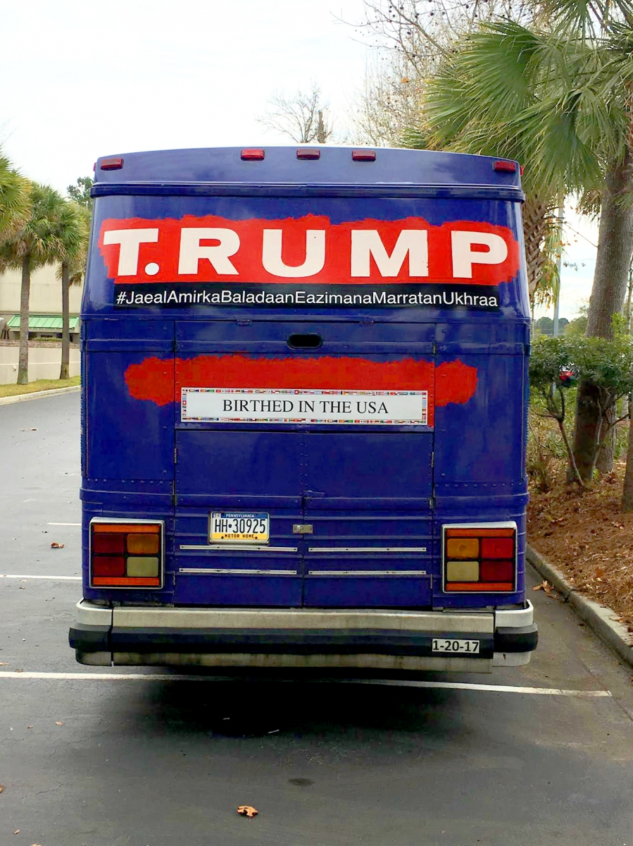 Back of the T.RUMP Bus